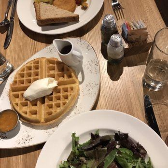 ... PA, United States. Blue crab omelet, golden waffle, field green salad