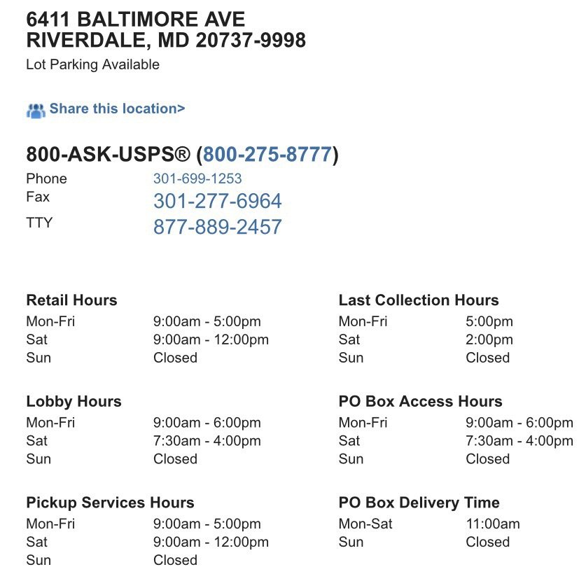 Usps: 6411 Baltimore Ave, Riverdale, MD