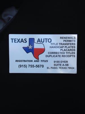 Texas auto registration titles 9155 dyer dr ste a 5b el for Texas department of motor vehicles el paso tx