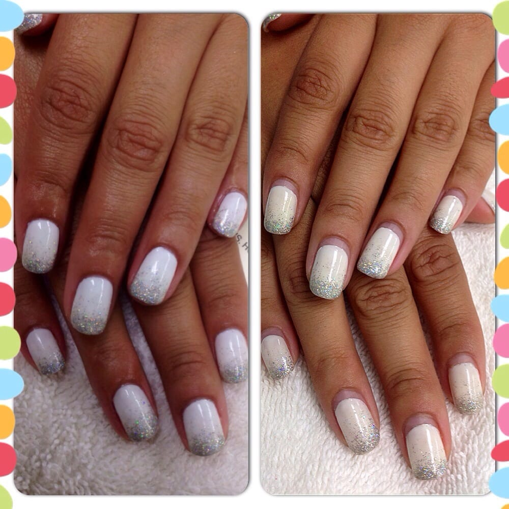 Gel manicure before and after three weeks later with no chipping or ...