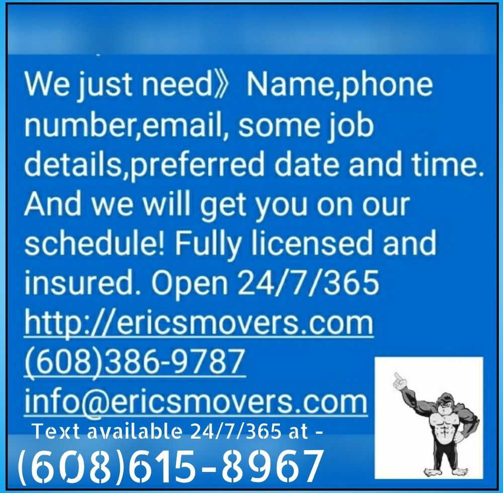 Eric's Moving and Delivery Service: 1501 Saint Andrew St, La Crosse, WI