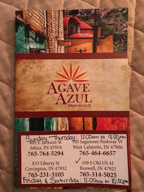 Agave Azul Mexican Grill: 109 S Old US Hwy 41, Boswell, IN