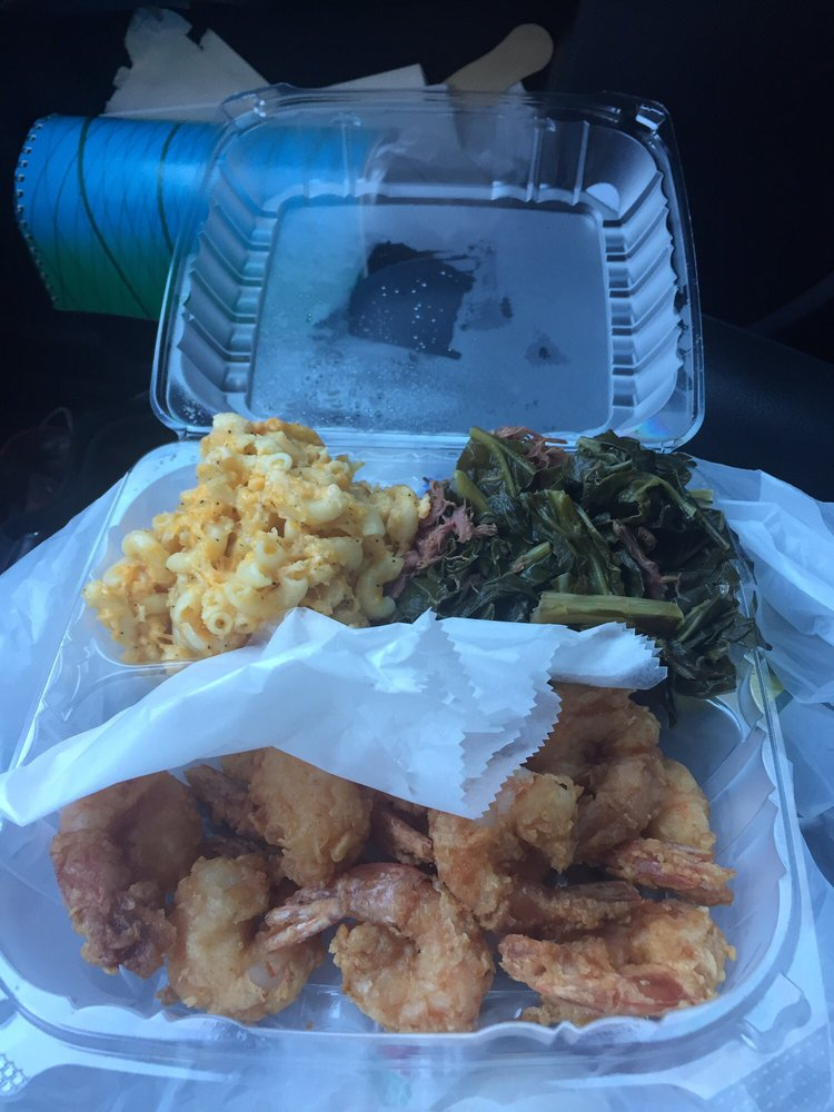 They give you plenty of shrimp collards have a lot of for Bed stuy fish fry menu