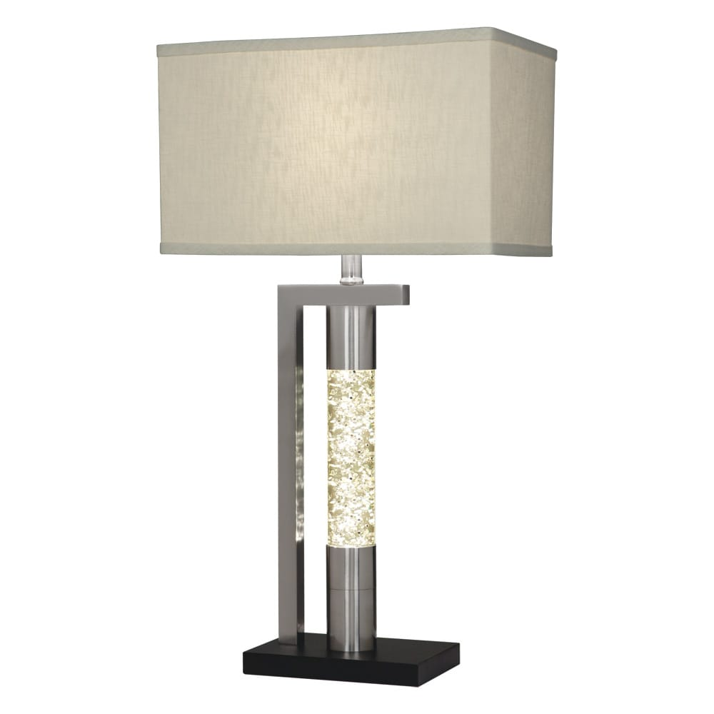 Modern table lamp in brushed silver chrome finish with ...