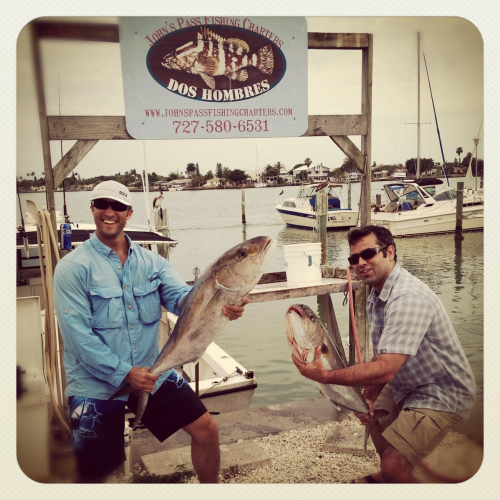Catching aj 39 s on the dos hombres and captain ant at john 39 s for Johns pass fishing