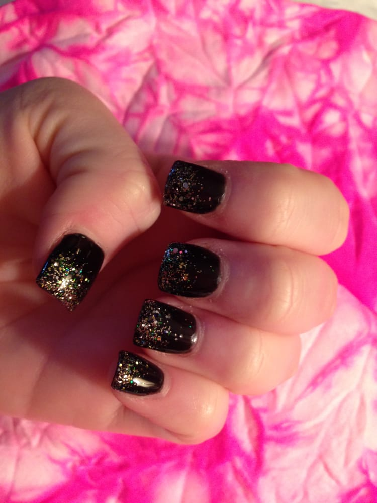 Ty made my acrylic nails black with gold glitter ombre - Yelp
