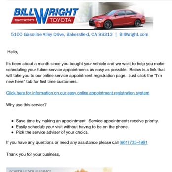 Photo Of Bill Wright Toyota   Bakersfield, CA, United States. Convenient  Email Sent