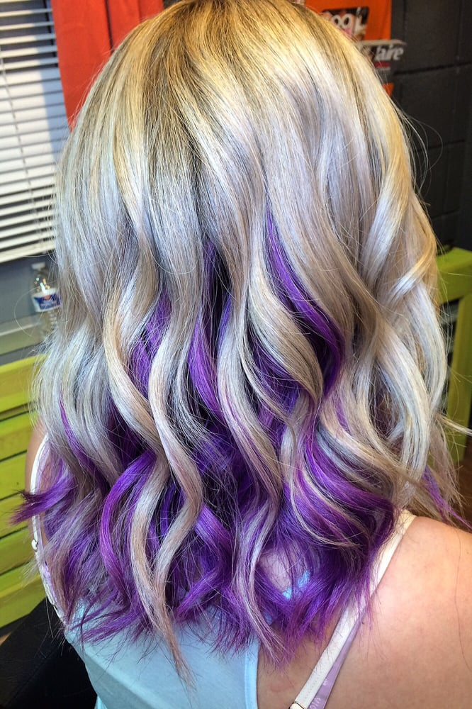 Perfect Balayage Blonde With Purple Orchid Underneath By Laura