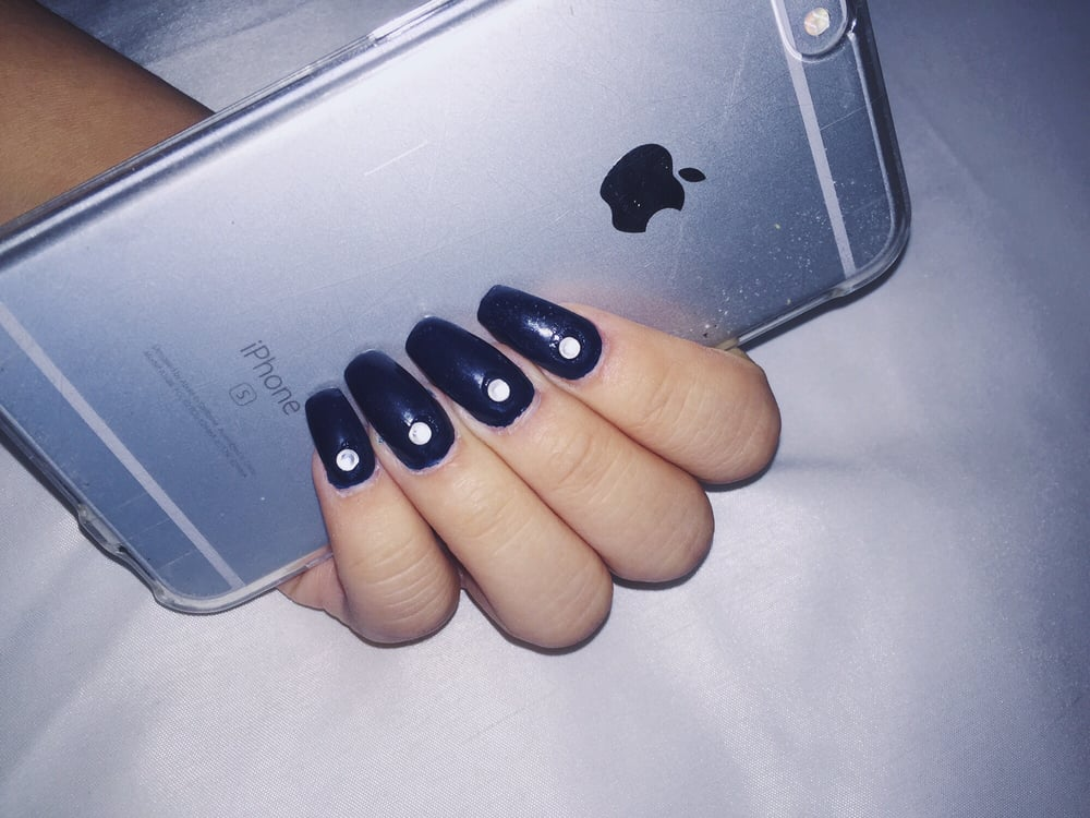 Navy blue coffin acrylic nails by Jay (added rhinestones myself) - Yelp
