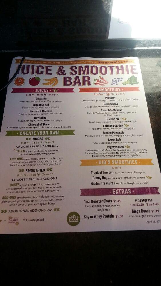 Juice and smoothie bar menu yelp for Whole food juice bar menu