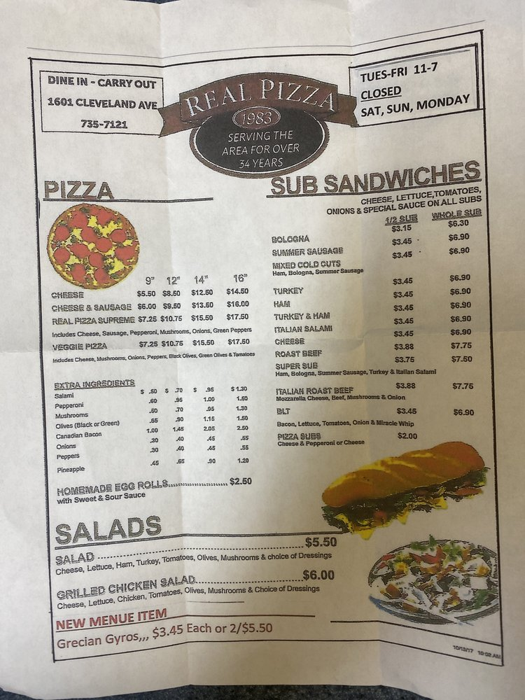 Real Pizza: 1601 Cleveland Ave, Marinette, WI