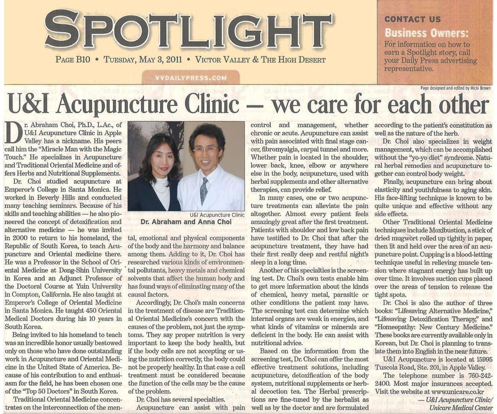 U&I Acupuncture Clinic: 15995 Tuscola Rd, Apple Valley, CA
