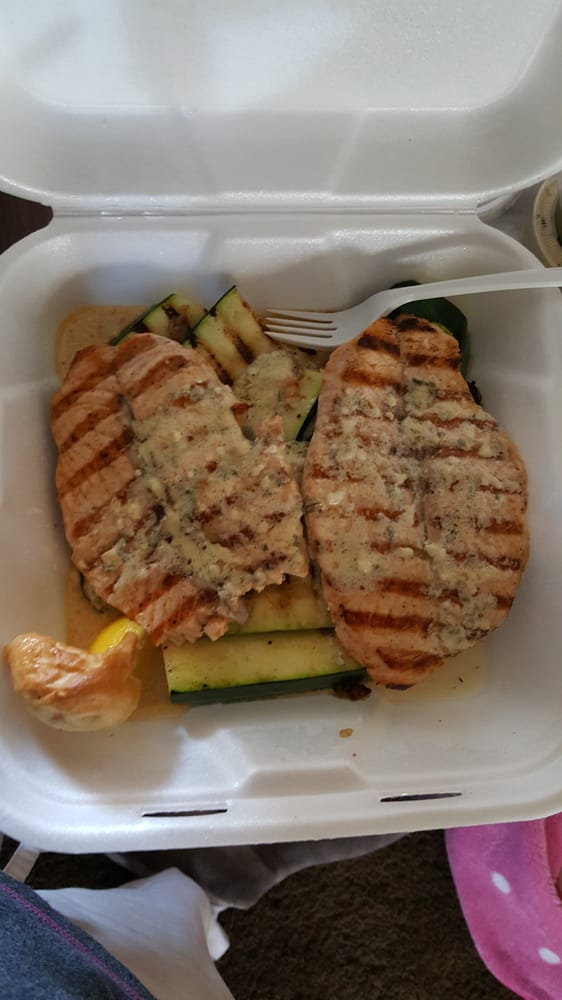 Garlic butter salmon plate with zucchini instead of rice for Phils fish grill