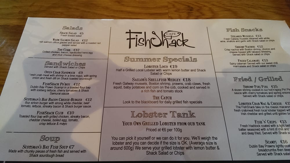 fish shack cafe menu yelp