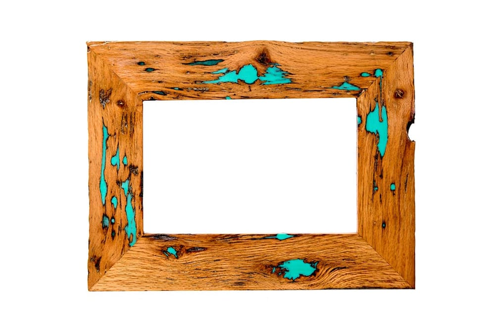 Old barn wood with turquoise resin. - Yelp