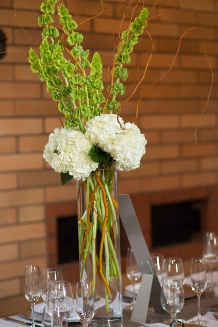 Centerpiece of white hydrangea bells ireland and