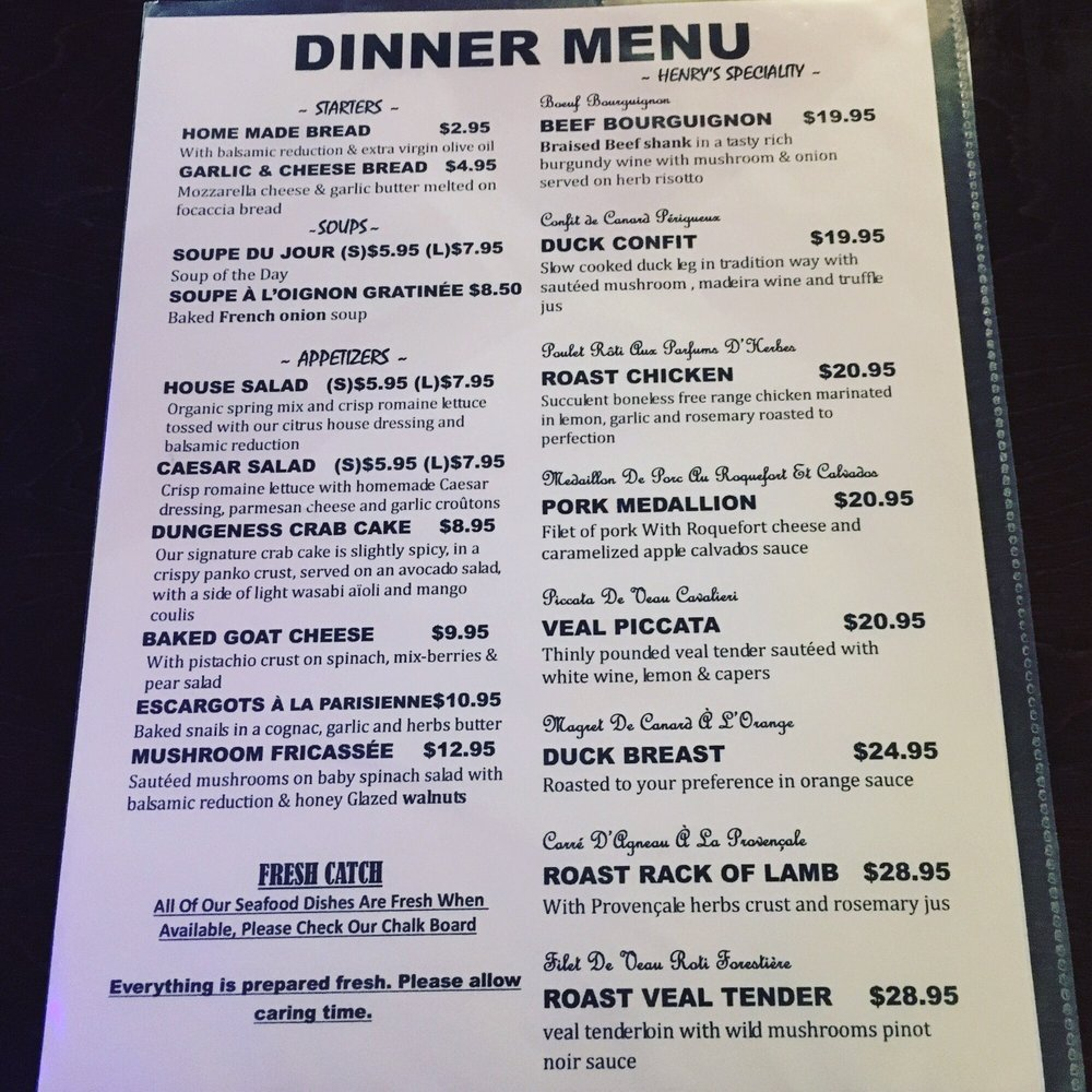 Henry S Kitchen Port Moody Menu