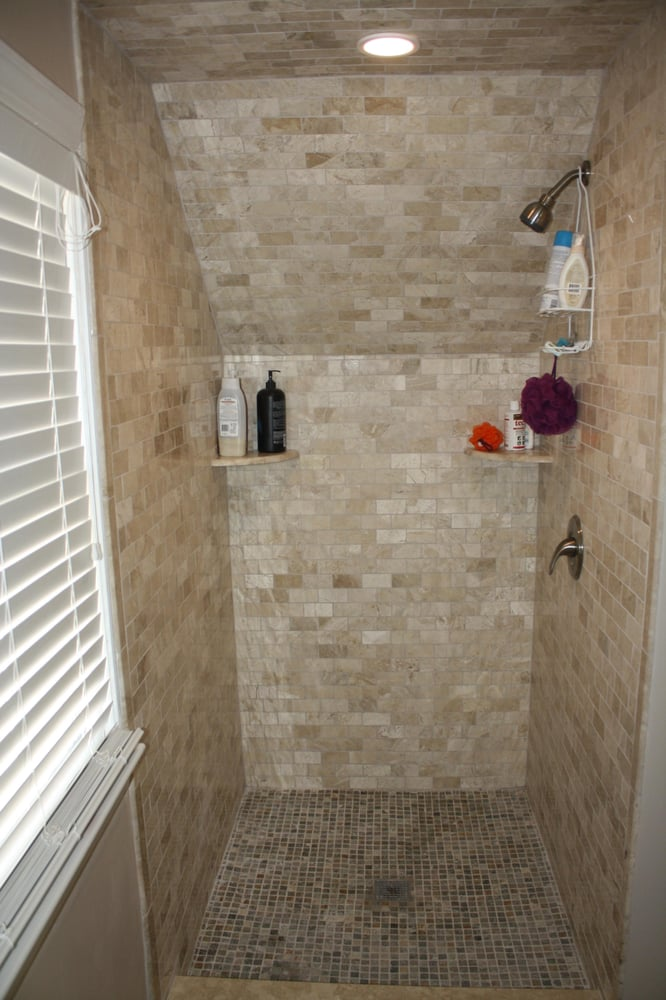 Demo shower stall because of drain leak, refinished with new vinyl ...