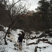'Photo of Boynton Canyon Trail - Sedona, AZ, United States. Covered in snow in January. Bring proper shoes. It's a blast!' from the web at 'https://s3-media1.fl.yelpcdn.com/bphoto/ygurhl4GUVRuHXl2NKsp_Q/168s.jpg'