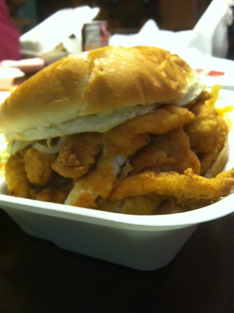 Side view of fish sandwich you got to take some out to for Good fish sandwich near me