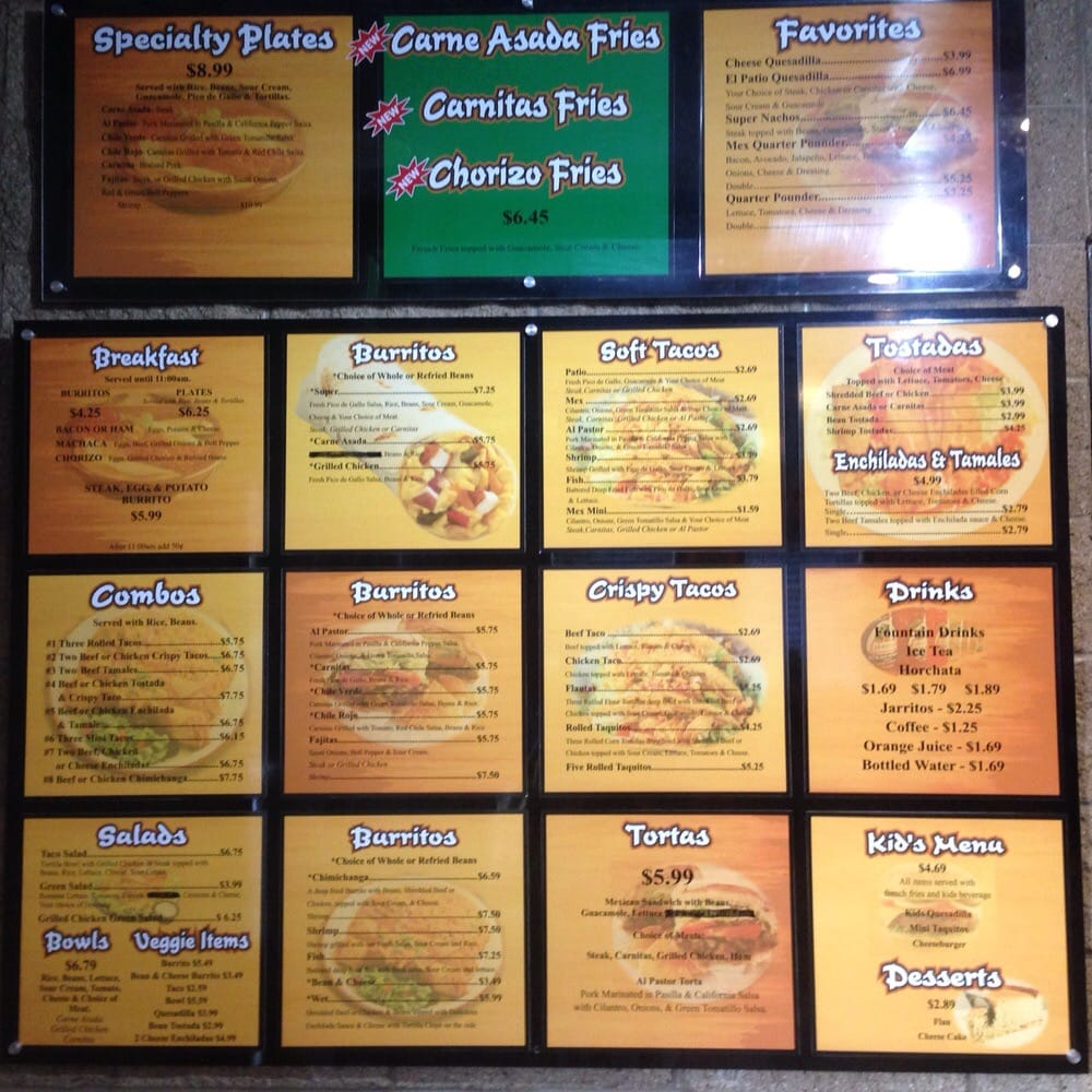 The menu inside El Patio in Woodland, CA. Pretty much all items are ...
