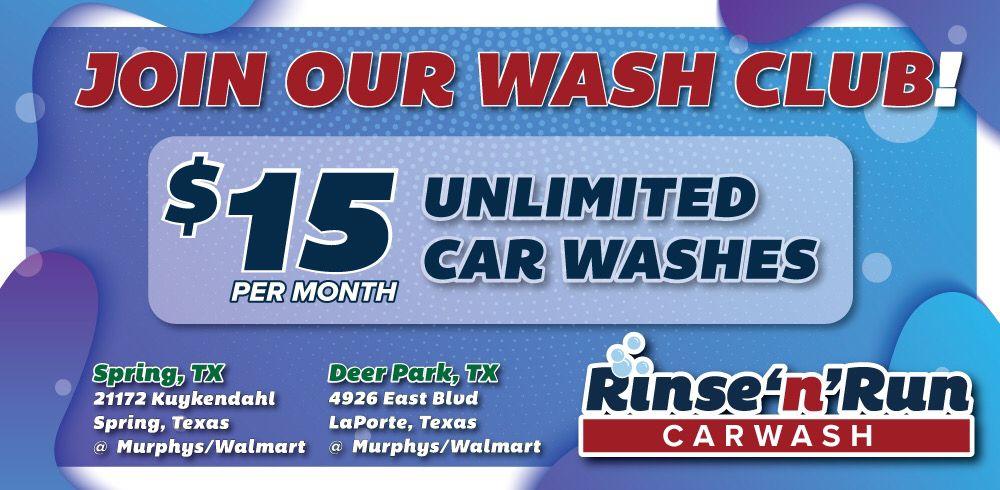 Rinse'n'Run Car Wash - Deer Park: 4926 East Blvd, La Porte, TX