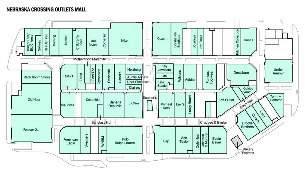 Westroads Mall Map Stores at Nebraska Crossing Outlets Mall   Yelp Westroads Mall Map