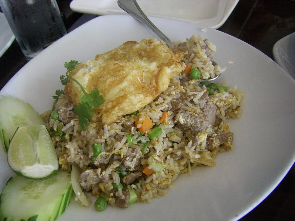 Fried rice with beef and a big egg on top yelp for Ayara thai cuisine los angeles ca