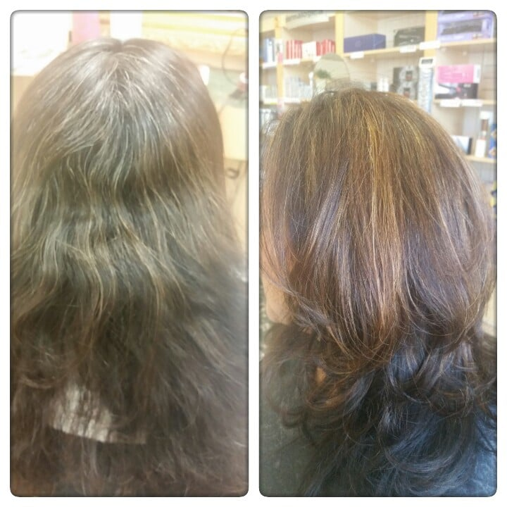 Covering Gray Hair And Add Highlights And Layers Hair Cut Yelp