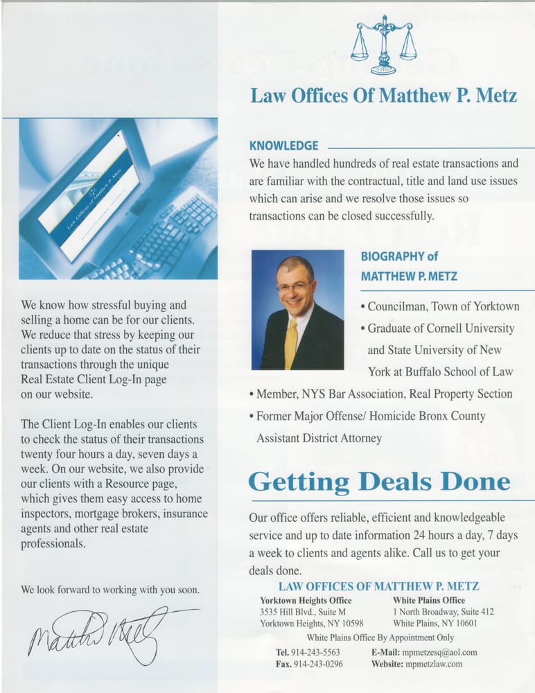 Law Offices of Matthew P Metz - (New) 24 Reviews - Real Estate Law