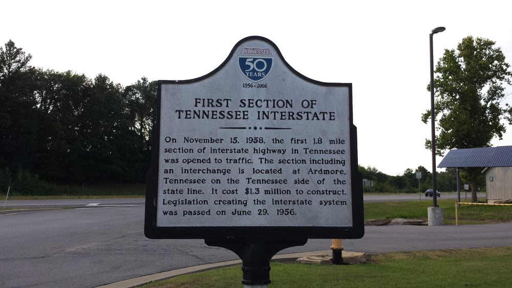 First Section of Tennessee Interstate Historical Marker: Ardmore, TN