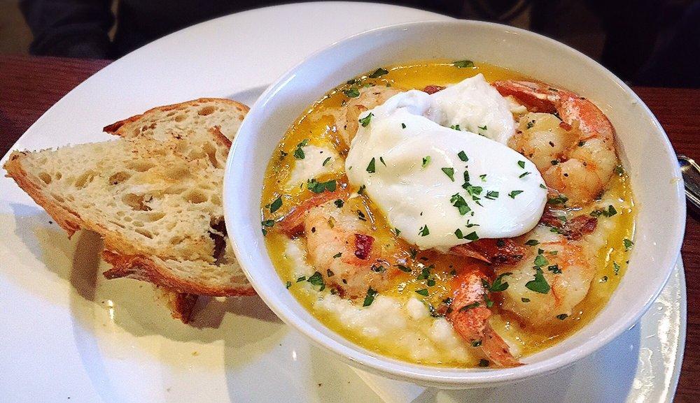 Delish shrimp & grits (5/5): w/ jalapeño-cheese grits ...