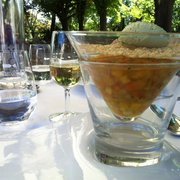 Hôtel Le Pigonnet - Aix en Provence, France. Dessert: minestrone de fruits et legumes et sorbet avocat