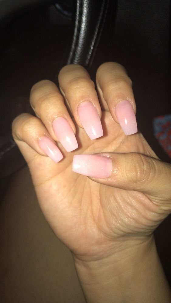 Medium coffin nails with crystal pink nexgen! - Yelp
