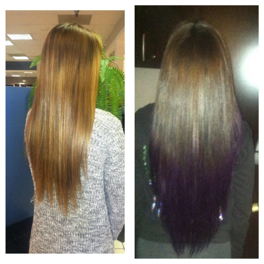 Had dirty blonde hair, and got brown and purple hair for ...