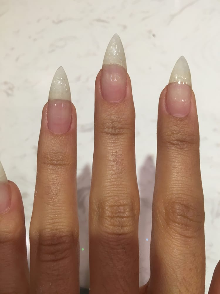 Fresh UV Gel stiletto nails before nail polish. - Yelp