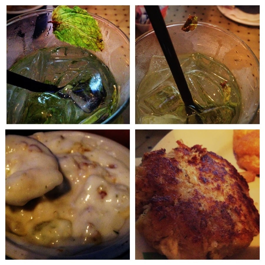 Peachijto with rotten mint leaf, over salted clam chowder and over seasoned crab cake that makes ...