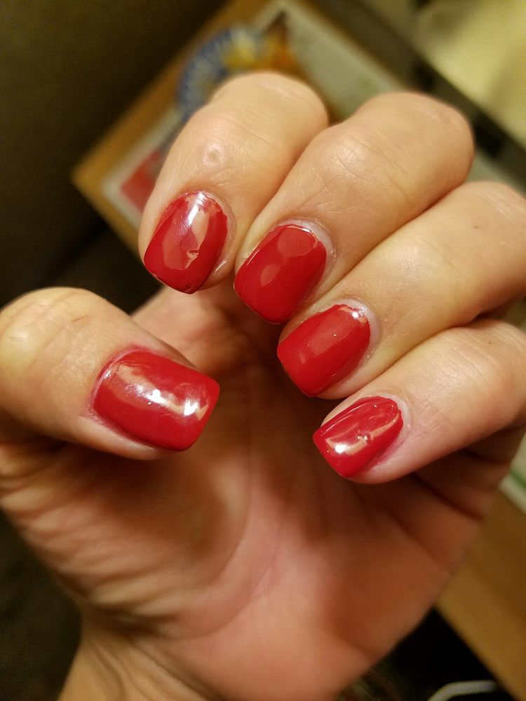 Nails done by Shirley. Notice the dents in the polish and the polish ...