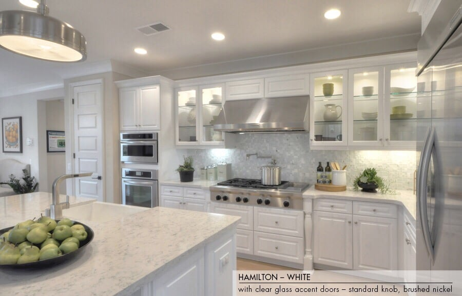 white kitchen cabinets with brushed nickel hardware hamilton white cabinets with clear glass accent doors 28988