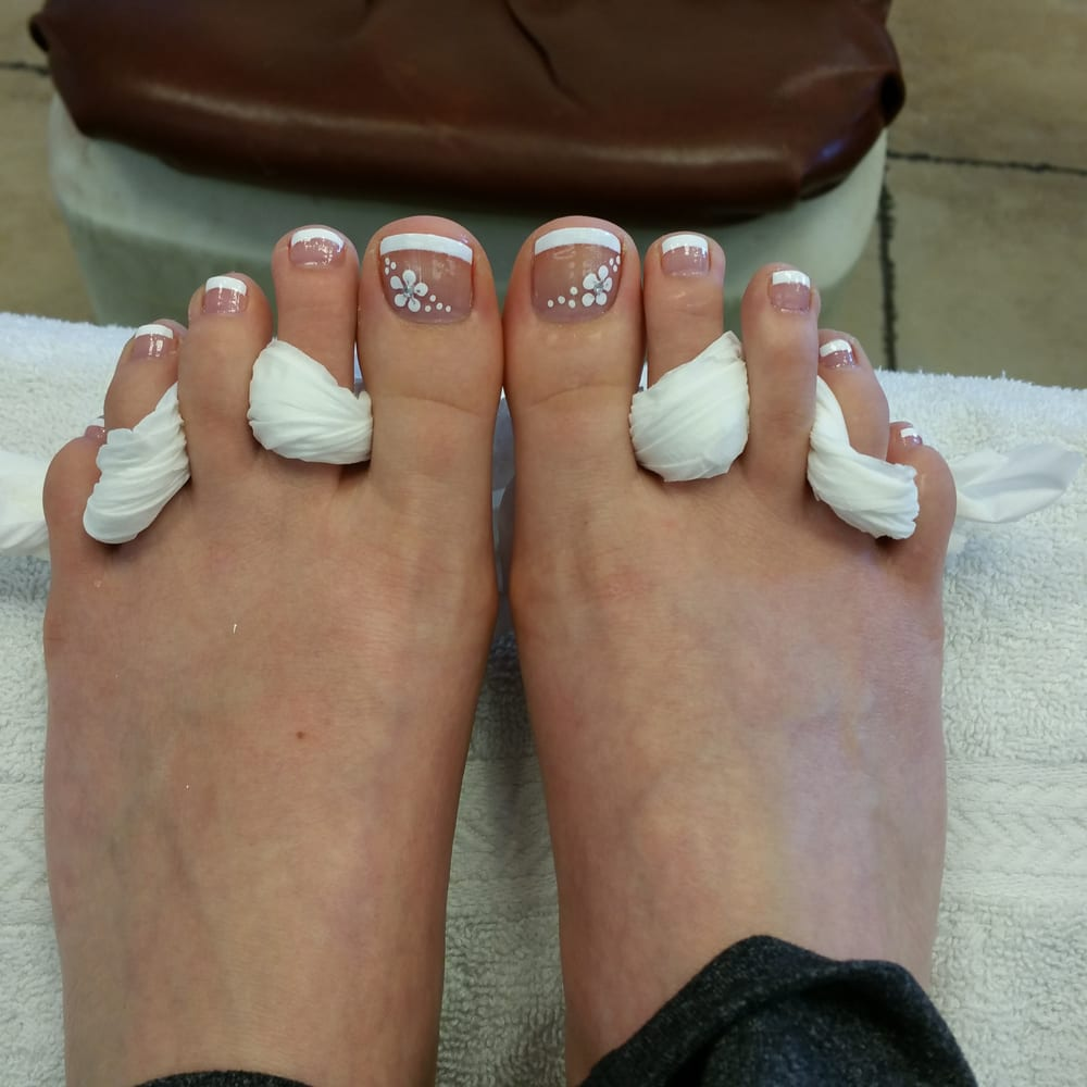 Pedicure With French Tip And Flowers Yelp
