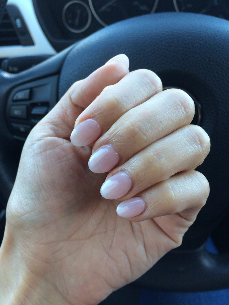 Gorgeous round shape ombré French tip gel set by Sarah - Yelp