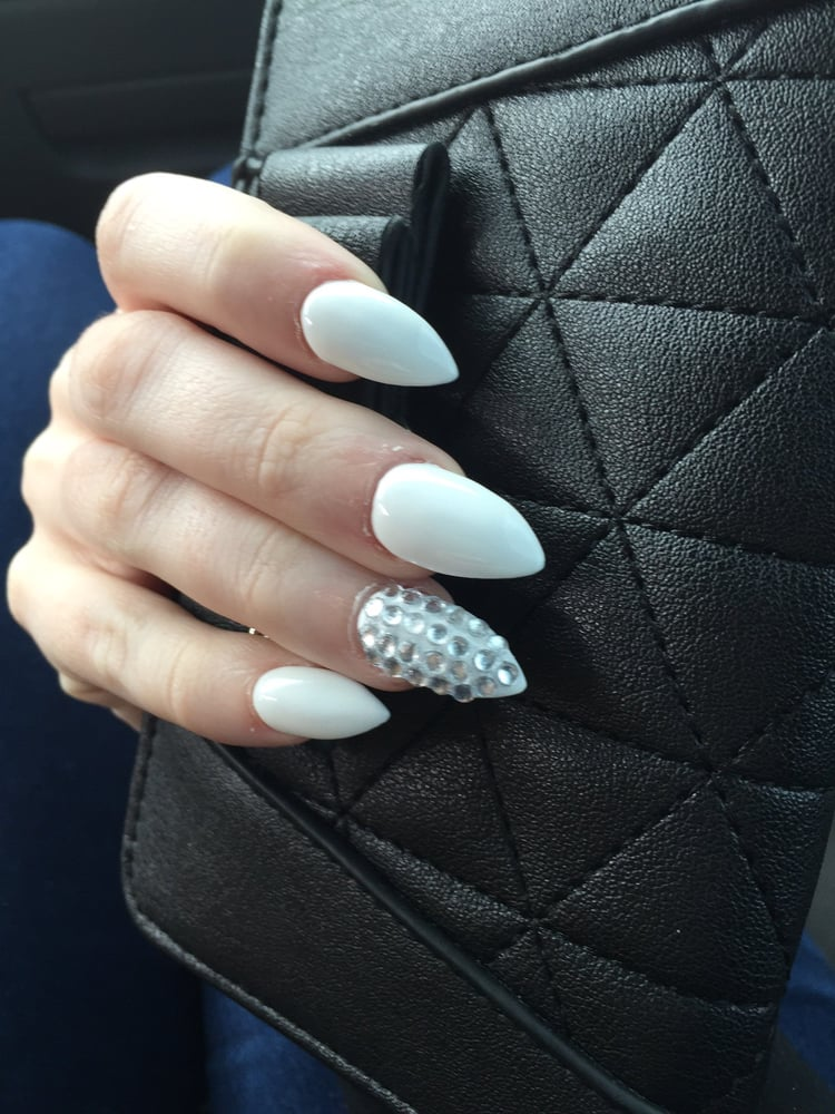 Auto Service Near Me >> White mountain peak nails with silver bling. - Yelp