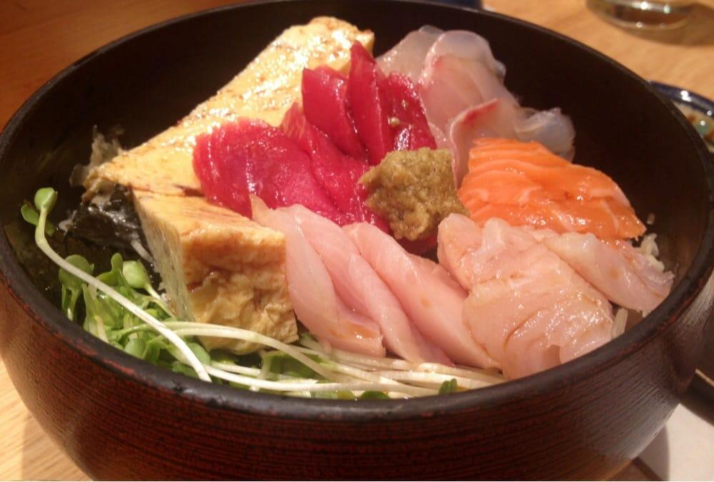 Chirashi: 4-6 pcs of tuna, salmon, yellowtail, & striped ...