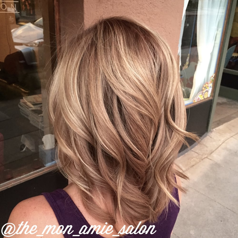 Subtle Stretched Root Dark Blonde Hair Color And Cut By