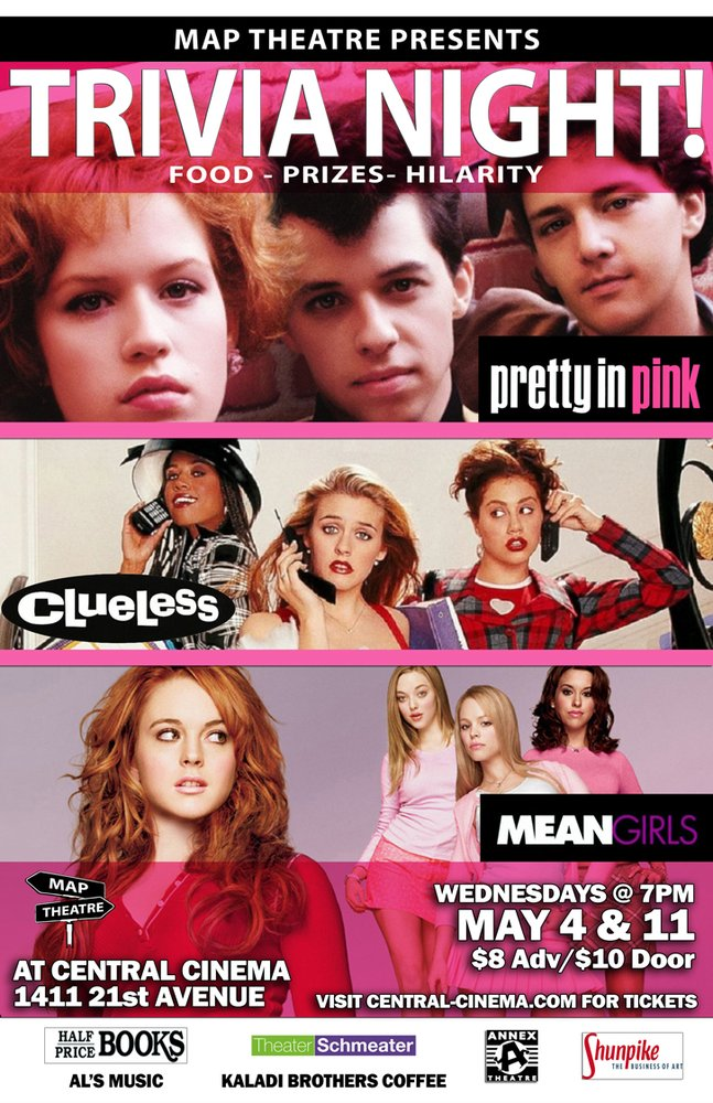 Pretty In Pink Clueless Mean S High School Trilogy Trivia Night May 4th And 11th Seattle Events Yelp