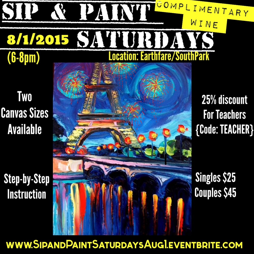 Sip paint saturdays complimentary wine lesson eiffel for Sip and paint charlotte nc