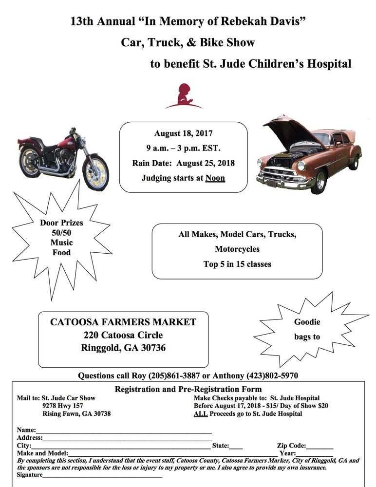 Th Annual In Memory Of Rebekah Davis Car Show Ringgold Events - Car show event insurance