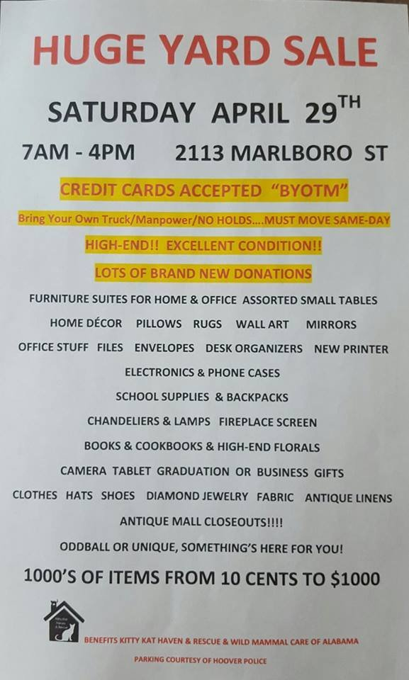 Yard Sale Benefitting Kitty Kat Haven Amp Rescue And Wild